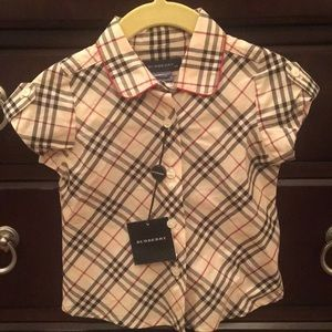 Burberry Toddler Plaid Short Sleeve Blouse 12 mon